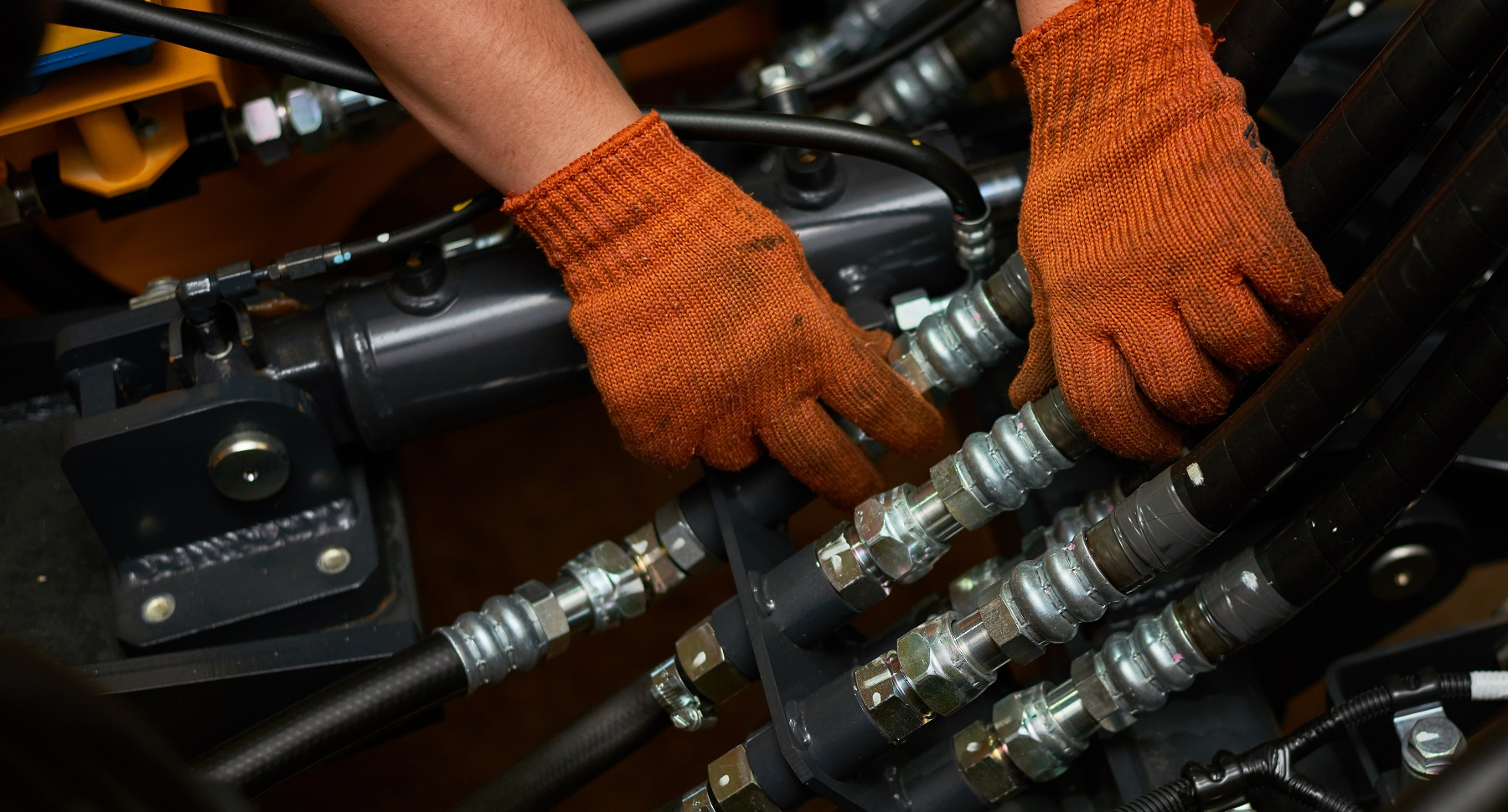 hydraulic pipes maintenance on heavy industry machine